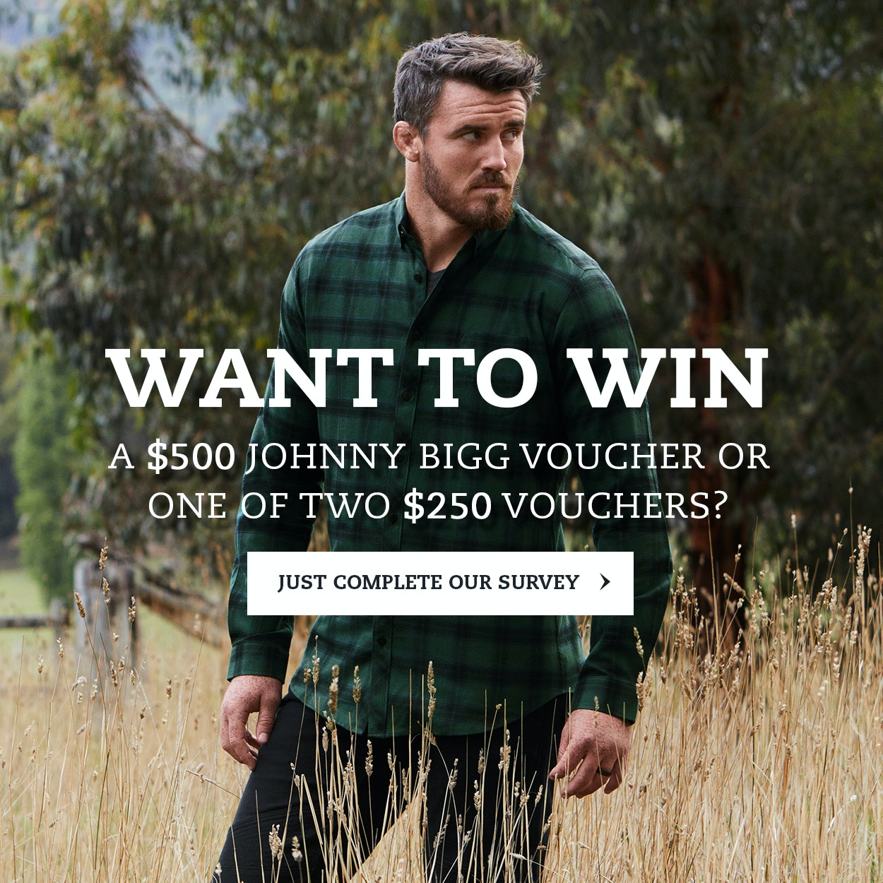 Complete the Johnny Bigg Customer Survey