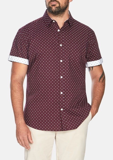 Burgundy Marling Stretch Print Shirt