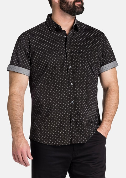 Charcoal Marling Stretch Print Shirt