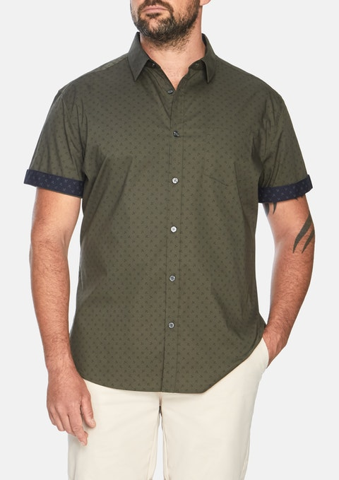 Khaki Marling Stretch Print Shirt