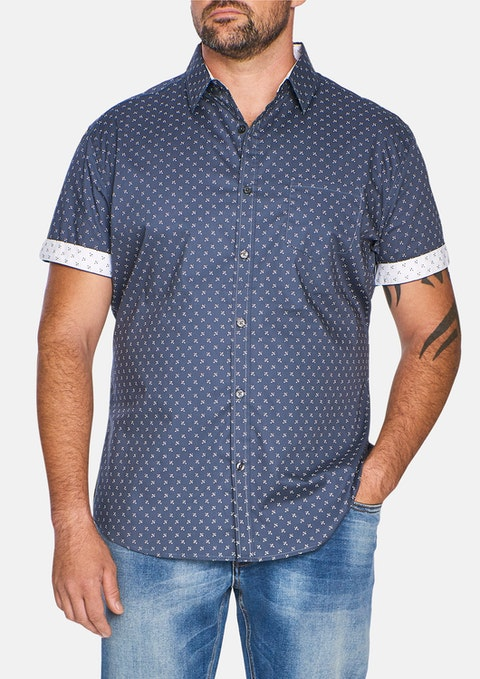 Steel Blue Marling Stretch Print Shirt