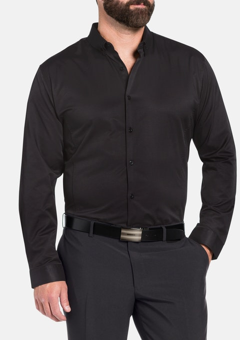 Black Remo Textured Rib Dress Shirt