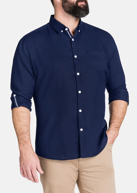 Navy Hooper Linen Blend Shirt
