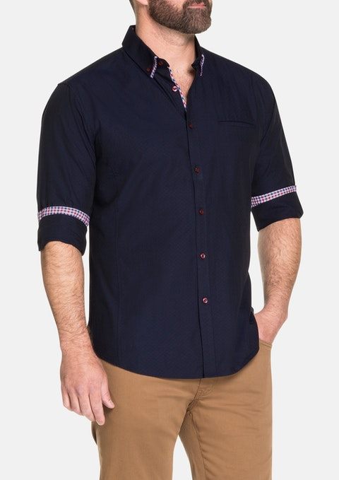 Navy Elgin Textured Shirt