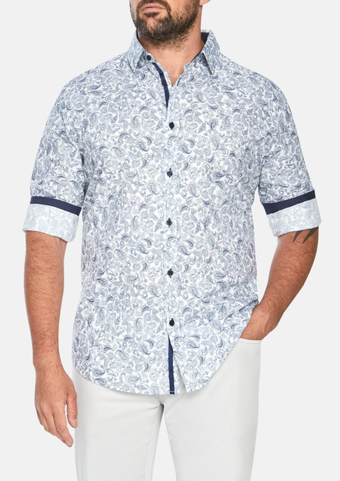 Navy Morrison Paisley Print Shirt