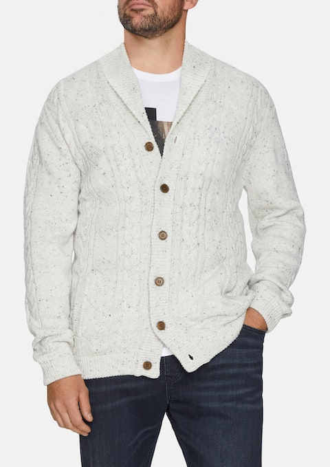 Oatmeal Whendon Cable Knit Cardi