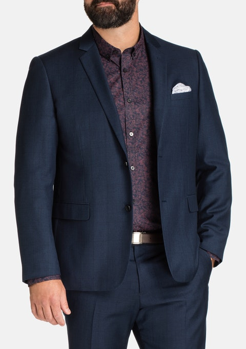 Navy Tanner 2 Button Check Suit Jacket