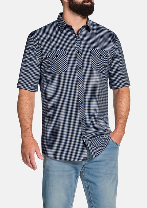 Blue Beckham Stretch Check Shirt
