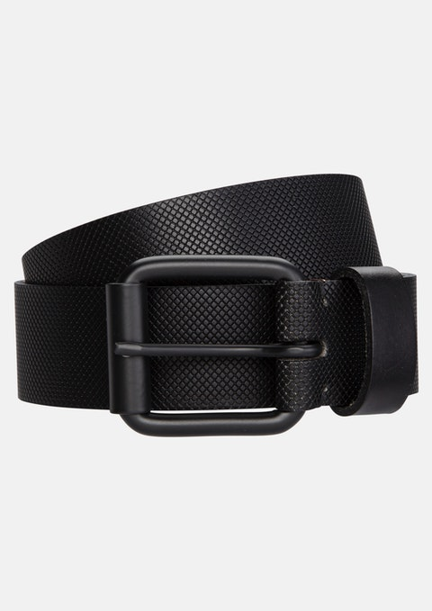 Black Satellite Leather Prong Belt