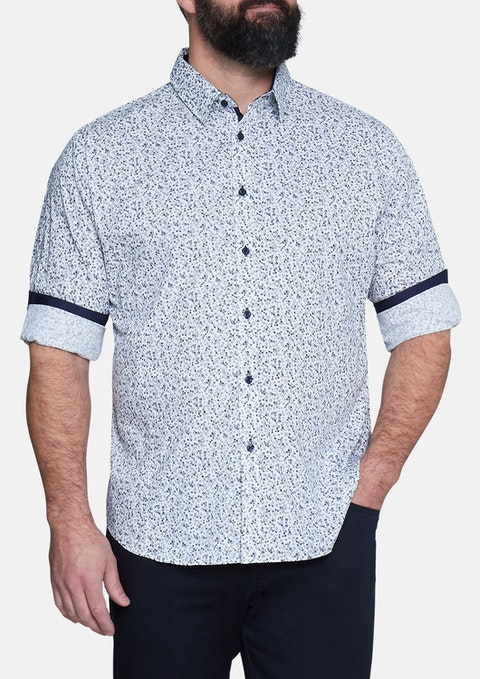 Navy Stirling Floral Print Shirt