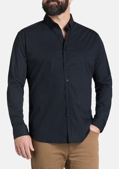 Navy Dash Spot Print Shirt