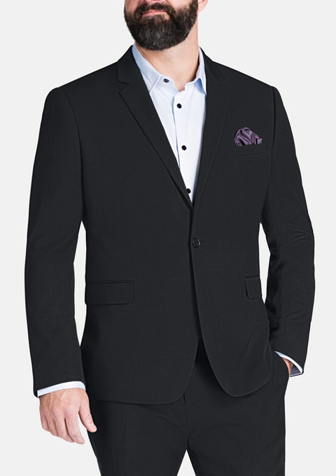 Charcoal Osgood Stretch 1 Button Suit Jkt