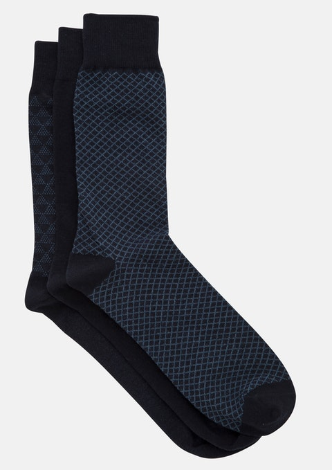 Navy Pattern Sock 3 Pack