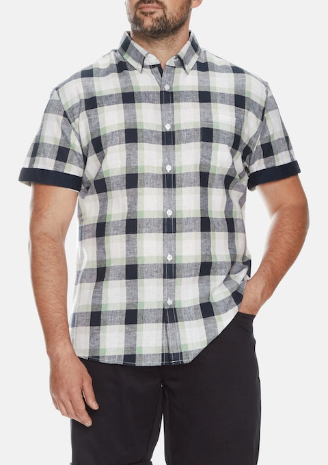 Mint Henri Linen Check Shirt