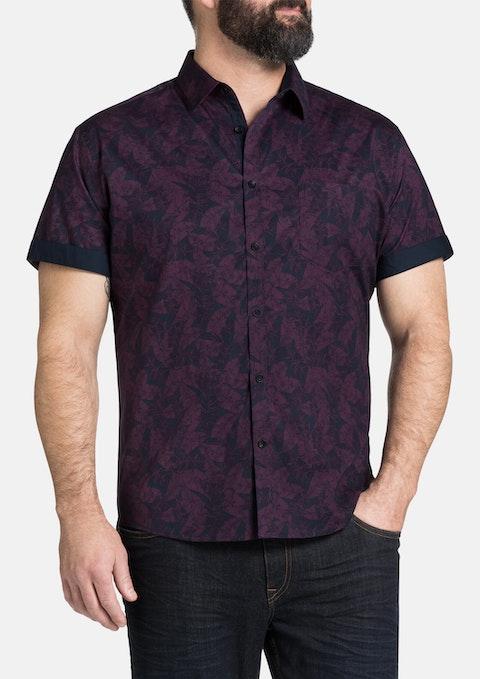 Purple Tropic Palm Print Shirt