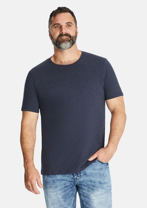 Navy Marle Essential Crew Neck Tee