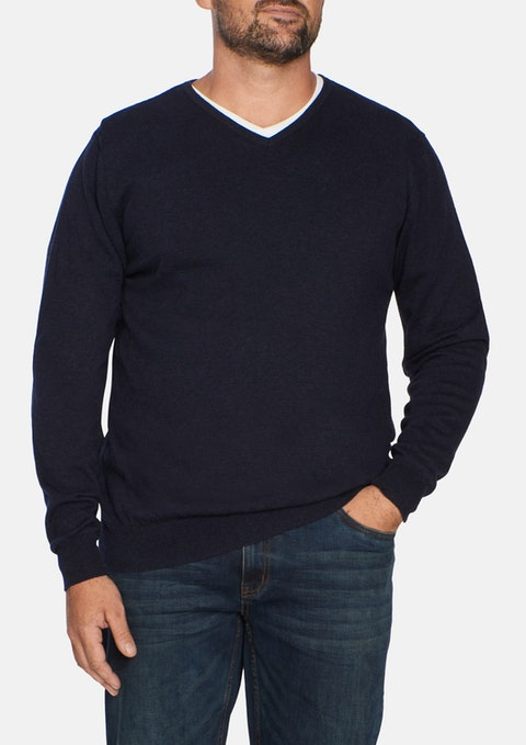 Navy Marle Essential V Neck Knit