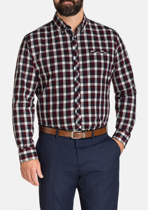 Burgundy Xavier Check Shirt