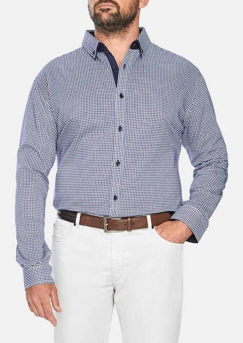 Navy Donovan Check Shirt
