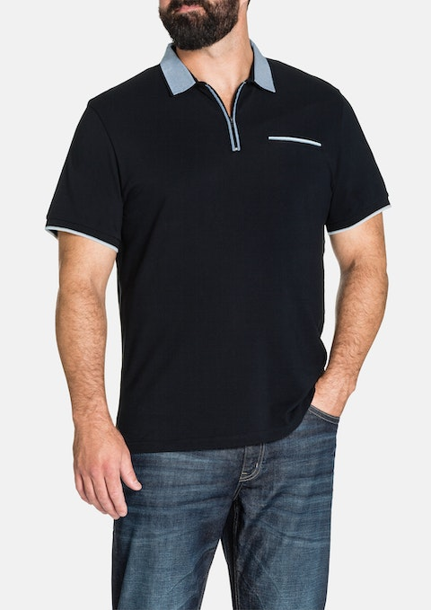 Navy Sorrento Zip Polo