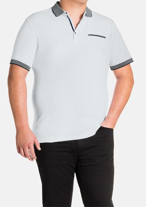 White Knit Collar Polo