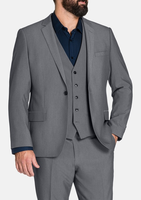 Pewter Chelsea Stretch 1 Btn Suit Jkt