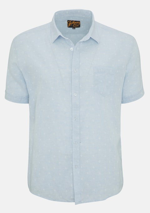 Sky Micro Print Linen Shirt