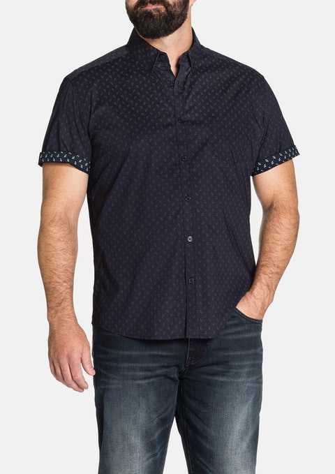 Navy Denzel Stretch Print Shirt