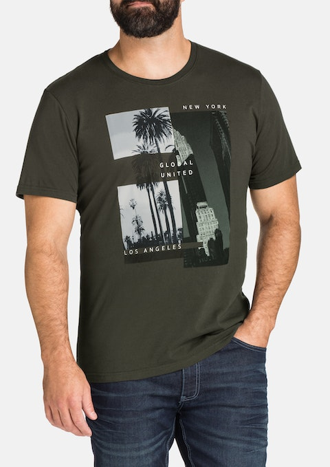 Khaki City Limits Print Tee
