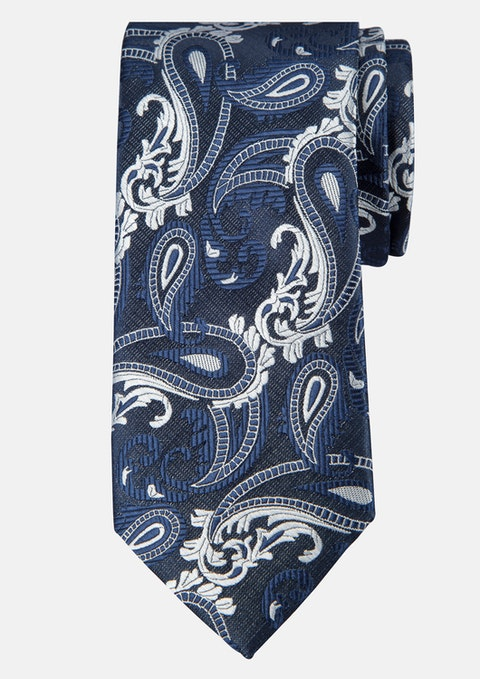 Navy Paisley Tie 7cm