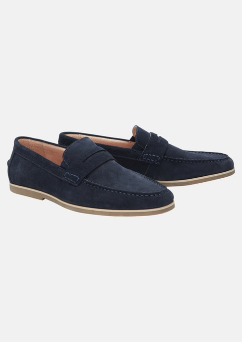 Navy Banks Suede Loafer