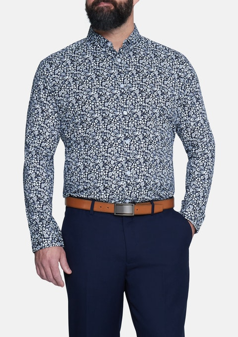 Navy Kona Print Stretch Shirt