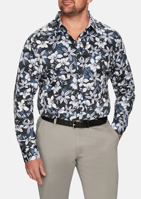 Navy Garland Print Shirt