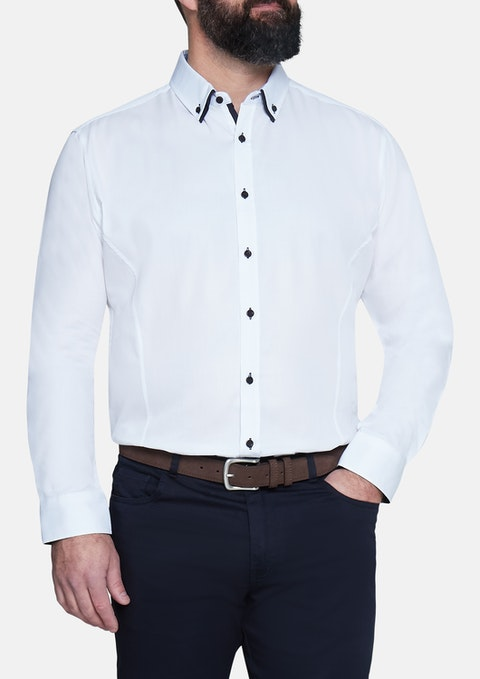 White Henry Textured Shirt