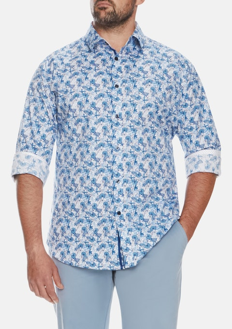 Blue Summer Floral Print Shirt