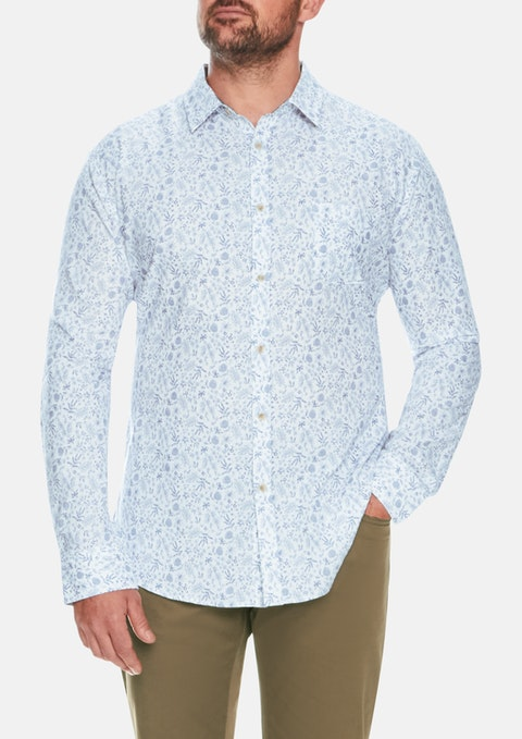 Blue Fauna Beach Print Shirt