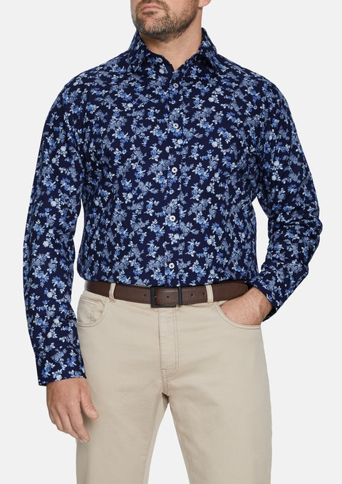 Navy Botanical Print Shirt
