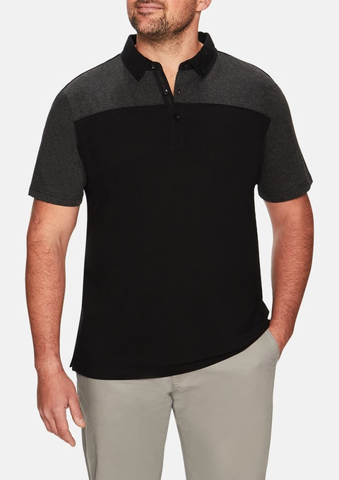 Black Spliced Block Polo