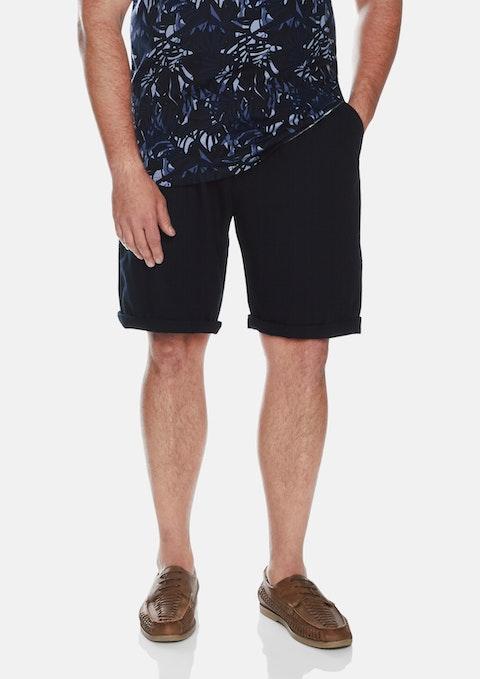 Navy Byron Linen Blend Short