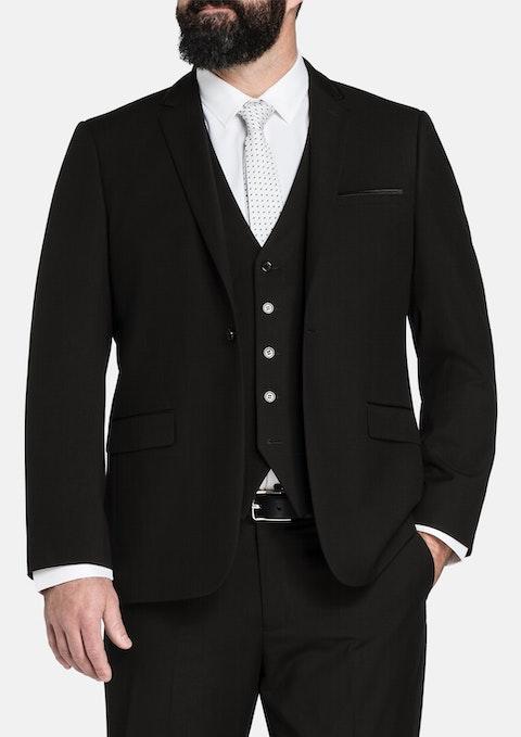 Black Bond Trim 1 Button Suit Jacket