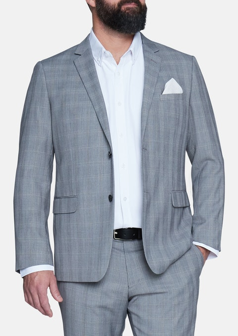 Grey Reserve Check 2 Button Suit Jacket