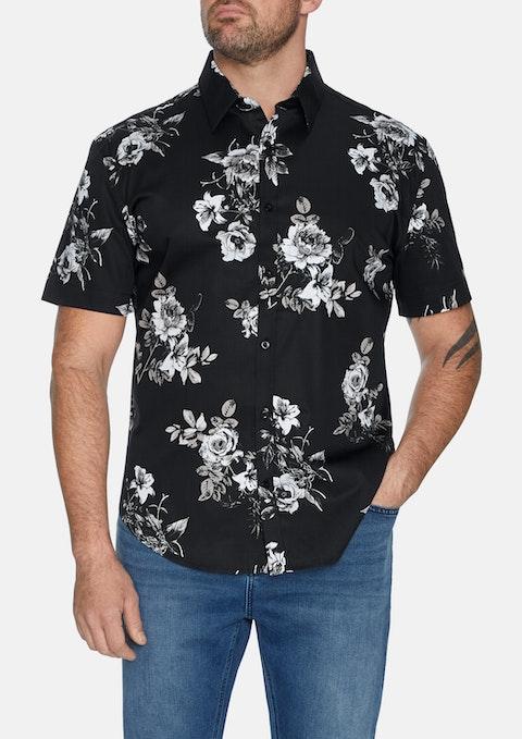 Blk - Black Vervain Print Stretch Shirt