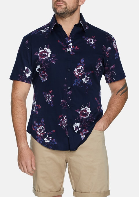 Nvy - Navy Vervain Print Stretch Shirt