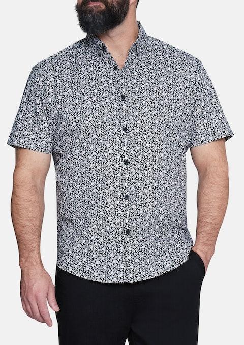 Black Sylvan Print Stretch Shirt