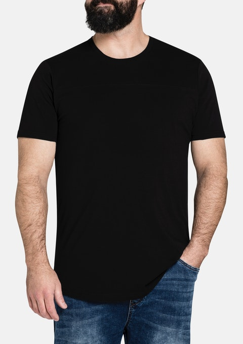 Black Essential Longline Panel Tee