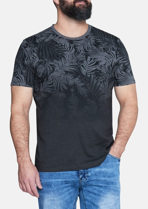Charcoal Faded Palm Print Tee