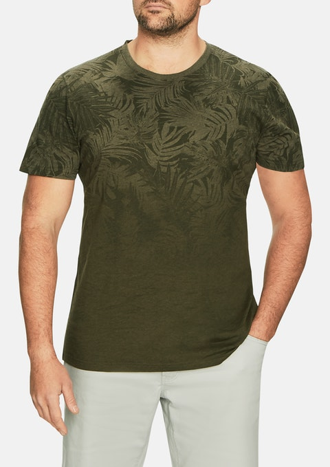 Khaki Faded Palm Print Tee
