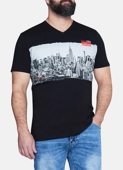 Black Cityline Print V-neck Tee