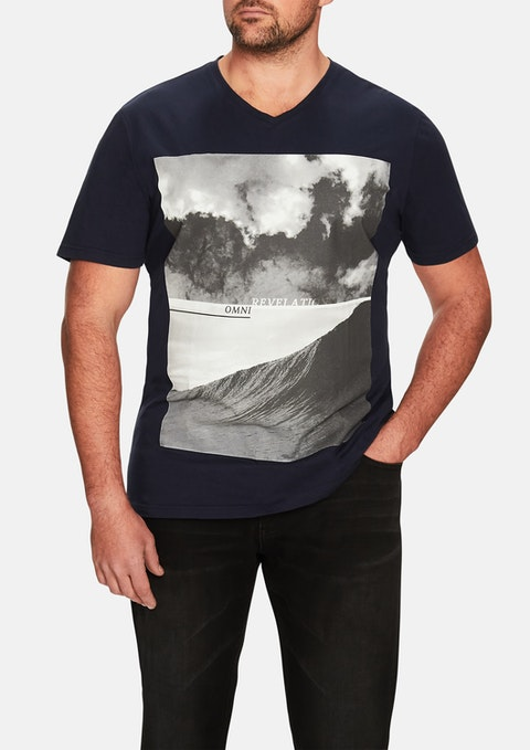 Navy Revelation Print V-neck Tee