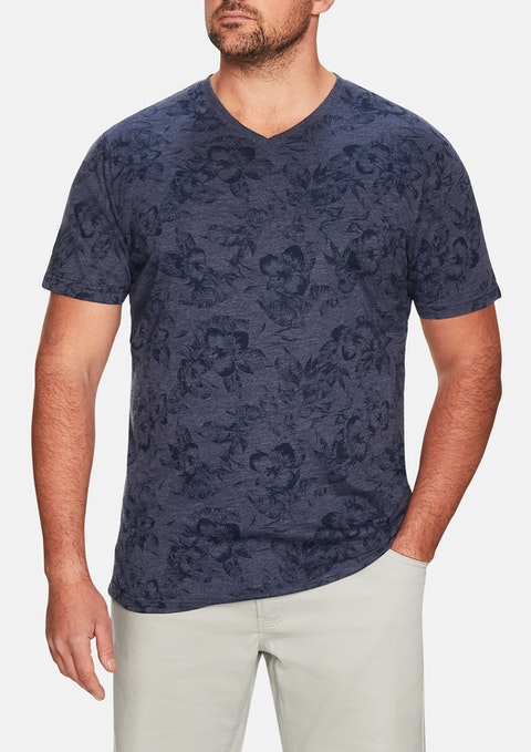 Blue Motley Tropic V-neck Tee